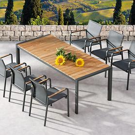 Aluminium-Gartenmöbel kombiniert mit Teakholz
