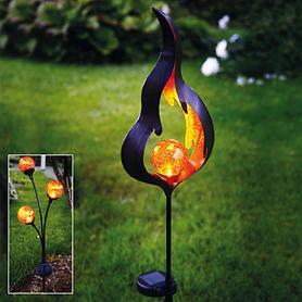 Solar-Lampe 3 Kugeln, Flamme, Halbmond & Blume