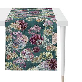 Tischläufer Hortensienblüten petrol 48x140