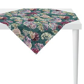Tischdecke Hortensienblüten petrol 100x10