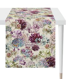 Tischläufer Hortensienblüten weiß 48x140