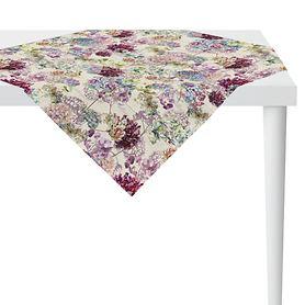 Tischdecke Hortensienblüten weiß 100x100