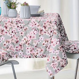 Tischdecke Kirschblüten grau 100x100