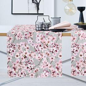 Tischläufer Kirschblüten grau 140x48