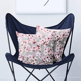 Kissen Kirschblüten inkl. Füllung grau 48x48
