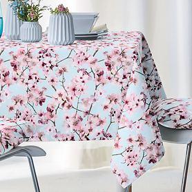 Tischdecke Kirschblüten hellblau 100x100