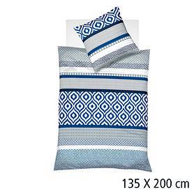 Bettwäsche blau/weiß 135x220 Aspen