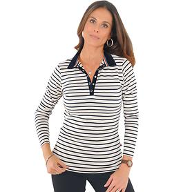 Poloshirt Breton ecru/navy, Gr. L