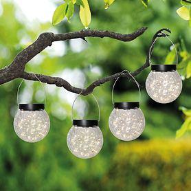 LED Solarhängeleuchte Crackle Ball