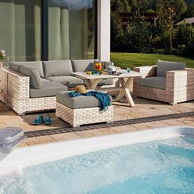 Geflecht-Lounge mit stabilem Aluminiumrahmen