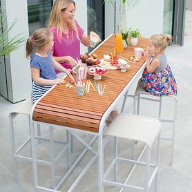 Aluminium-Teak-Barmöbel, Hocker und passender Tisch