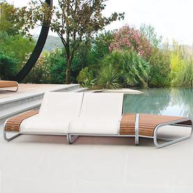 Aluminium-Teak-Lounge mit Textilenbespannung erweiterbar