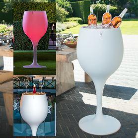 Design-Flaschenkühler, mit und ohne LED-Beleuchtung, Stehtisch-Modell, H 110 cm