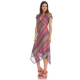 Kleid mit leicht ausgestelltem Zipfelrock aus Viskose