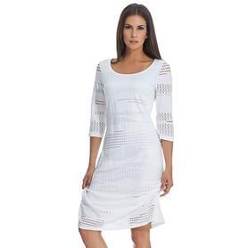 Knielanges Kleid in feiner Spitzenoptik mit 3/4-Arm