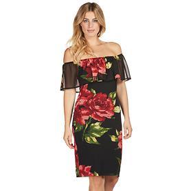 Schulterfreies Kleid mit leuchtendem Rosendruck