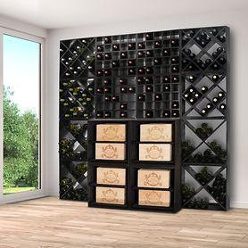 Weinregalsystem 52 cm, schwarz lackiert