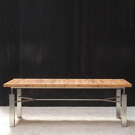 Tisch ACINO, rustik mit Edelstahlgestell