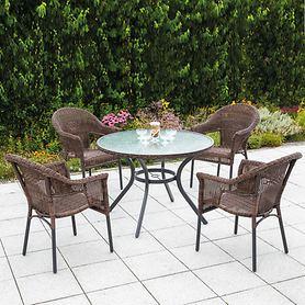 Set 1 Ravenna runder Tisch 4 Sessel, braun