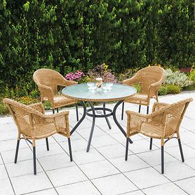 Set 1 Ravenna runder Tisch 4 Sessel, natur