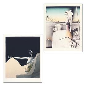 Lithografien Madame Récamier & Paar mit Hund