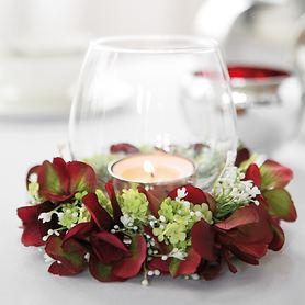 Glas-Windlicht Venezia und Kunstblumenkranz Hortensie