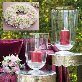 Windlicht/Vase Royal und Hortensienkranz