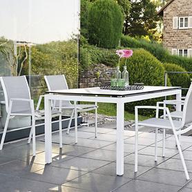 Aluminium-Gartenmöbel mit Textilenbezug