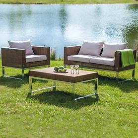 Geflecht-Lounge-Gartenmöbel, mit stabilem Alurahmen