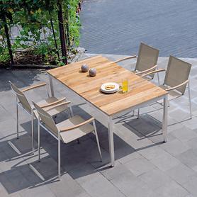 Aluminium-Teak-Gartenmöbel mit Textilenbespannung