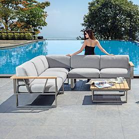 Loungeserie aus Edelstahl mit Textilen-Gewebe