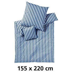 Bettwäsche Lido marine/weiß 155x220cm