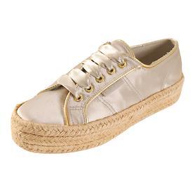 Plateau-Sneaker Satin beige, Gr. 40