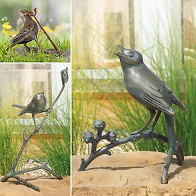 Skulpturen Zaunkönig, Nachtigall & Vogel m. Wurm