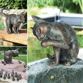Bronze-Skulpturen Katze