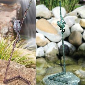Bronze-Skulptur Halm mit Maus u. Halm mit Fröschlein