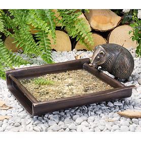 Skulptur Vogeltränke mit Igel
