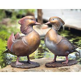 Skulpturen-Set Mandarin-Entenpaar