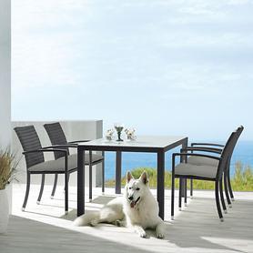 Gartenmöbel-Set Samoa, Tisch groß mit 4 Stühlen