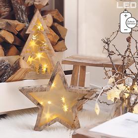 LED-Holzsterne und -Tannenbaum