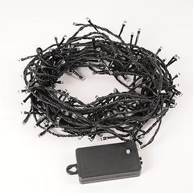 Batteriebetriebene LED Mini-Lichterkette, 96 Lichter (schwarzes Kabel)