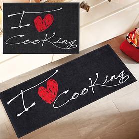 Waschbarer Teppichläufer und Fußmatte I love cooking