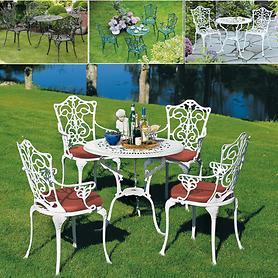 Aluminiumguss-Gartenmöbel, in weiß, graphit und dunkelgrün