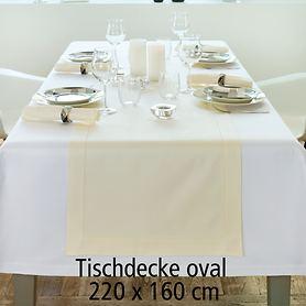Tischdecke Gent weiß oval 220x160