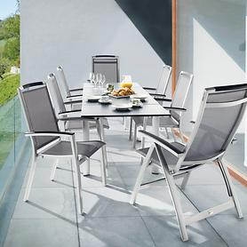 Aluminium-Gartenmöbel mit Textilengewebe & Tisch ausziehbar