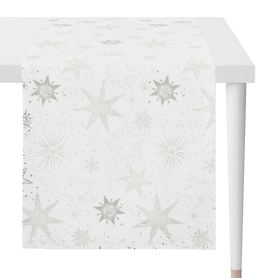 Tischläufer Christmas Time weiß/silberfarben 140x48