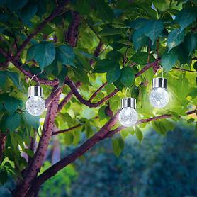 LED-Solarleuchte Crackel Ball 3er-Set