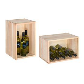 Weinlagerkisten VENETO in Natur, braun und schwarz lackiert