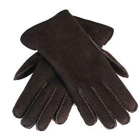 Lammfell-Handschuhe Damen/ Herren dunkelbraun Gr. 9