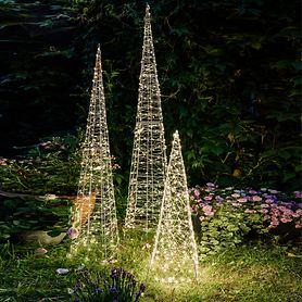 Kunstfaser Leucht-Pyramiden mit LED Beleuchtung